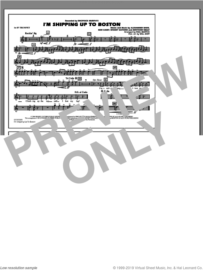 I'm Shipping Up To Boston sheet music for marching band (1st Bb trumpet) by Alexander Barr