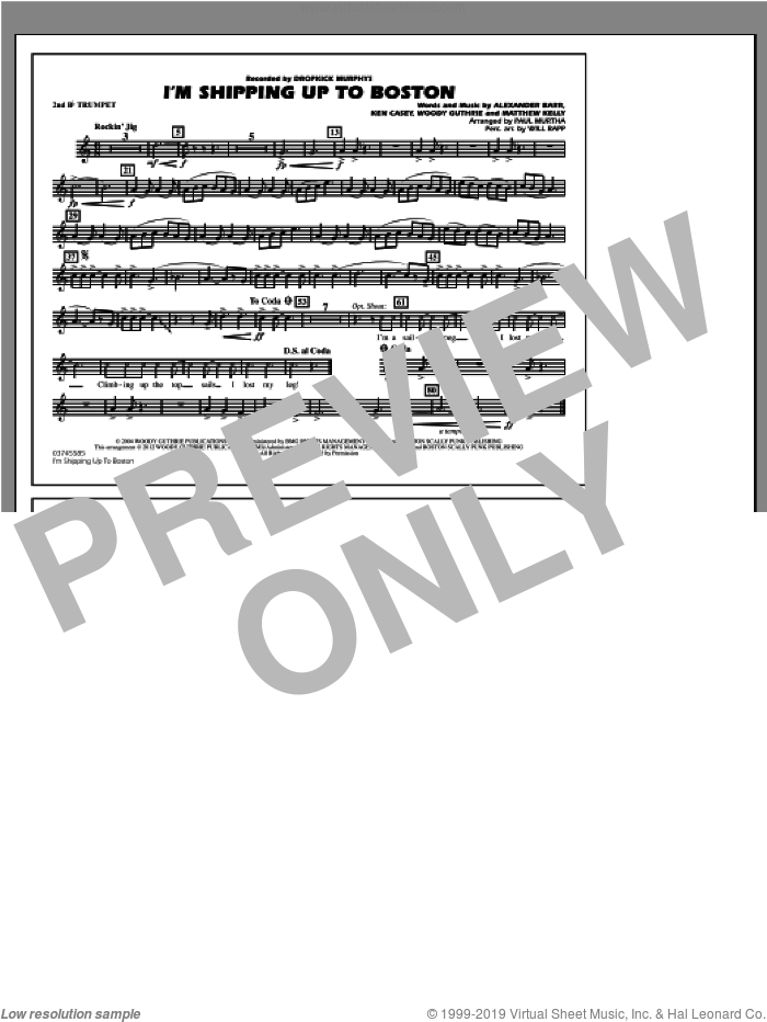 I'm Shipping Up To Boston sheet music for marching band (2nd Bb trumpet) by Alexander Barr