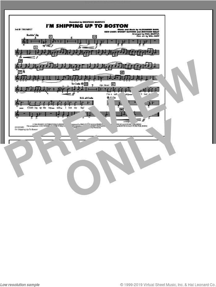 I'm Shipping Up To Boston sheet music for marching band (3rd Bb trumpet) by Alexander Barr