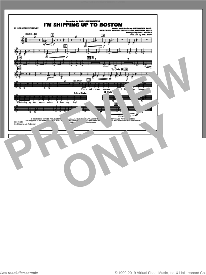 I'm Shipping Up To Boston sheet music for marching band (Bb horn/flugelhorn) by Alexander Barr