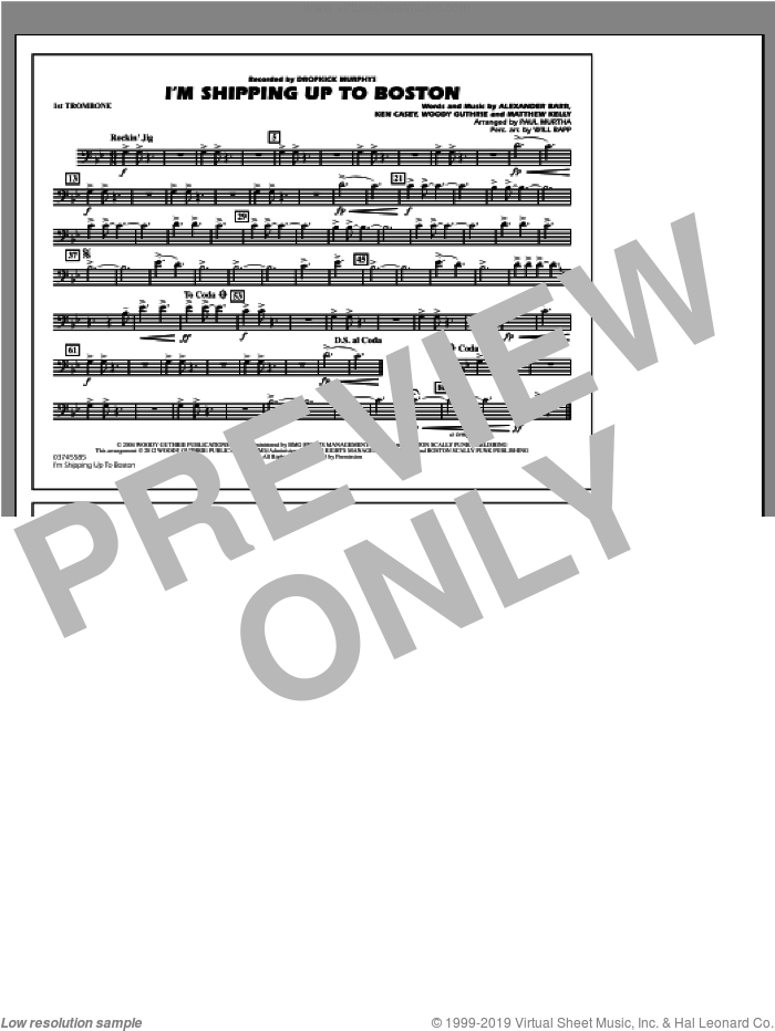 I'm Shipping Up To Boston sheet music for marching band (1st trombone) by Alexander Barr
