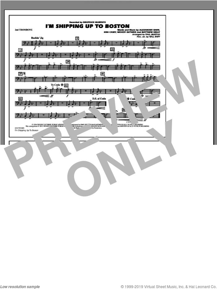 I'm Shipping Up To Boston sheet music for marching band (2nd trombone) by Alexander Barr