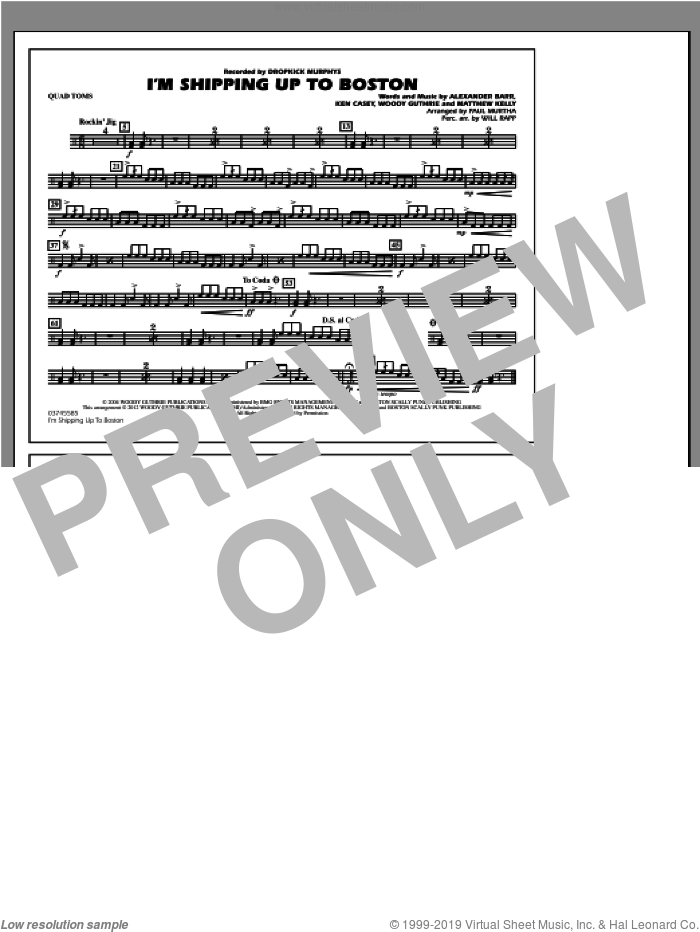 I'm Shipping Up To Boston sheet music for marching band (quad toms) by Alexander Barr