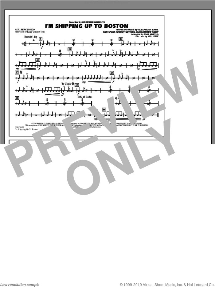 I'm Shipping Up To Boston sheet music for marching band (aux percussion) by Alexander Barr