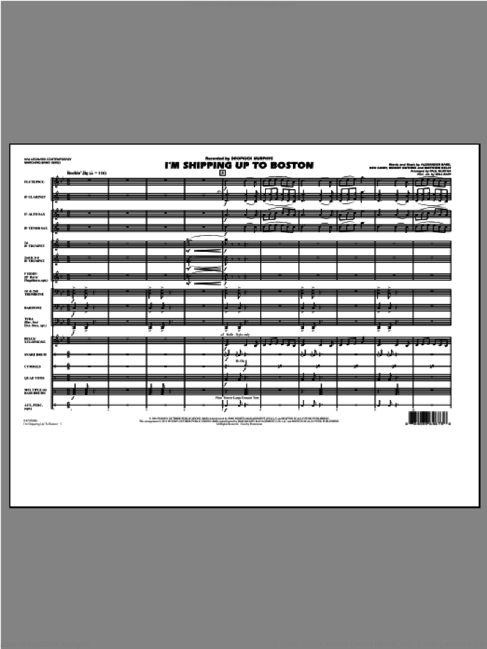 I'm Shipping Up to Boston (COMPLETE) sheet music for marching band by Woody Guthrie, Alexander Barr, Ken Casey, Matthew Kelly, Dropkick Murphys, Paul Murtha and Will Rapp, intermediate skill level