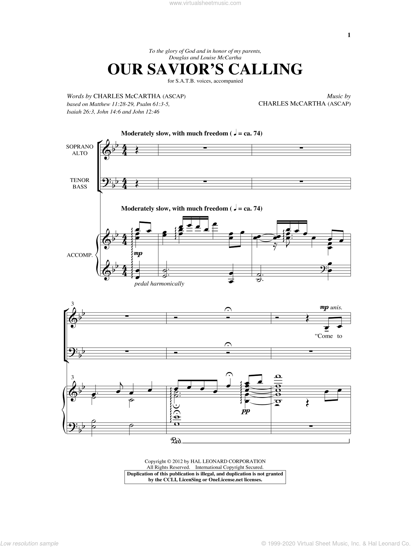 Our Savior's Calling sheet music for choir and piano (SATB) by Charles McCartha
