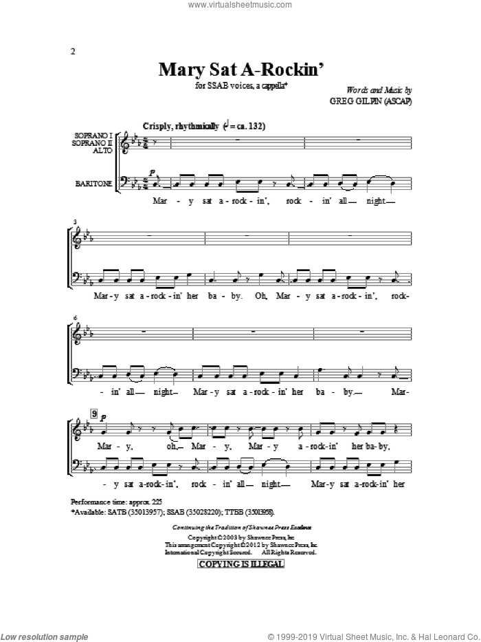 Mary Sat A-Rockin' sheet music for choir (SSAB) by Greg Gilpin, intermediate. Score Image Preview.