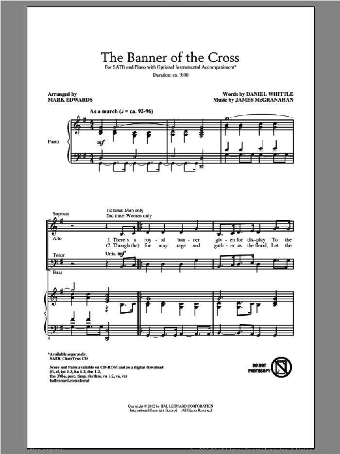 The Banner Of The Cross sheet music for choir and piano (SATB) by James McGranahan and Mark Edwards. Score Image Preview.