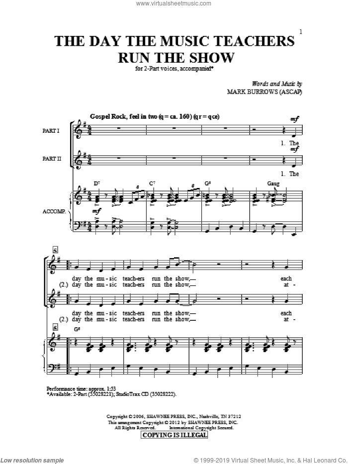The Day The Music Teachers Run The Show sheet music for choir and piano (duets) by Mark Burrows