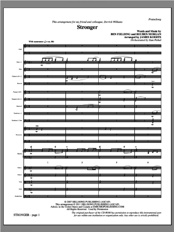 Stronger (complete set of parts) sheet music for orchestra/band (Orchestra) by Reuben Morgan, Ben Fielding and James Koerts, intermediate skill level
