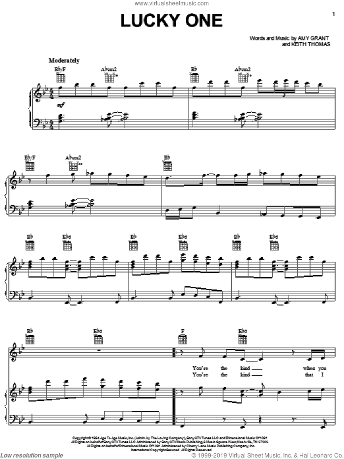 Lucky One sheet music for voice, piano or guitar by Amy Grant and Keith Thomas, intermediate skill level