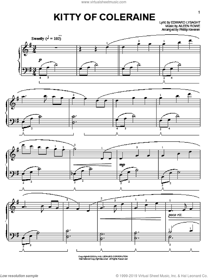 Kitty Of Coleraine sheet music for piano solo by Phillip Keveren and Miscellaneous. Score Image Preview.