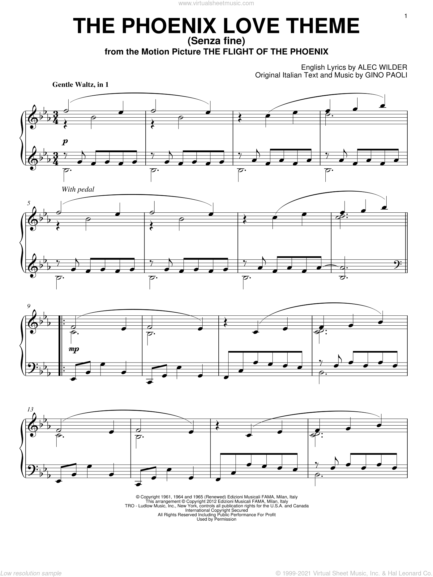 The Phoenix Love Theme (Senza Fine) sheet music for piano solo by Gino Paoli and Alec Wilder, intermediate skill level