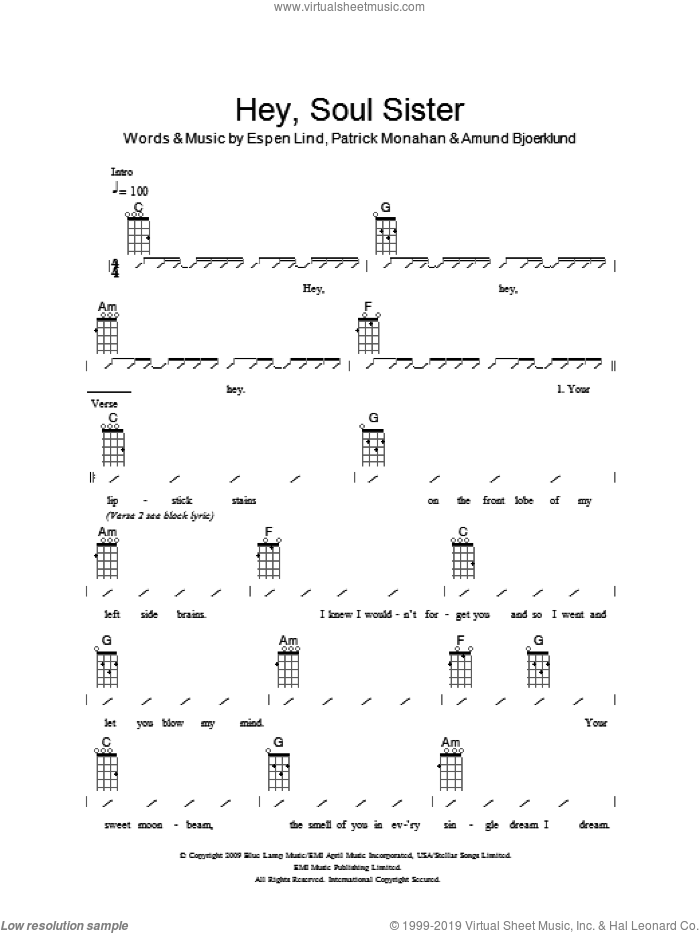 Hey, Soul Sister sheet music for ukulele (chords) by Pat Monahan, The Ukuleles, Train and Amund Bjoerklund. Score Image Preview.