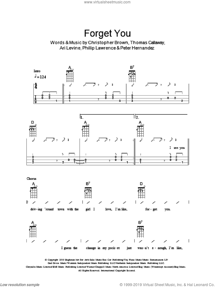 Forget You sheet music for ukulele (chords) by Thomas Callaway, The Ukuleles, Ari Levine, Chris Brown, Peter Hernandez and Philip Lawrence. Score Image Preview.