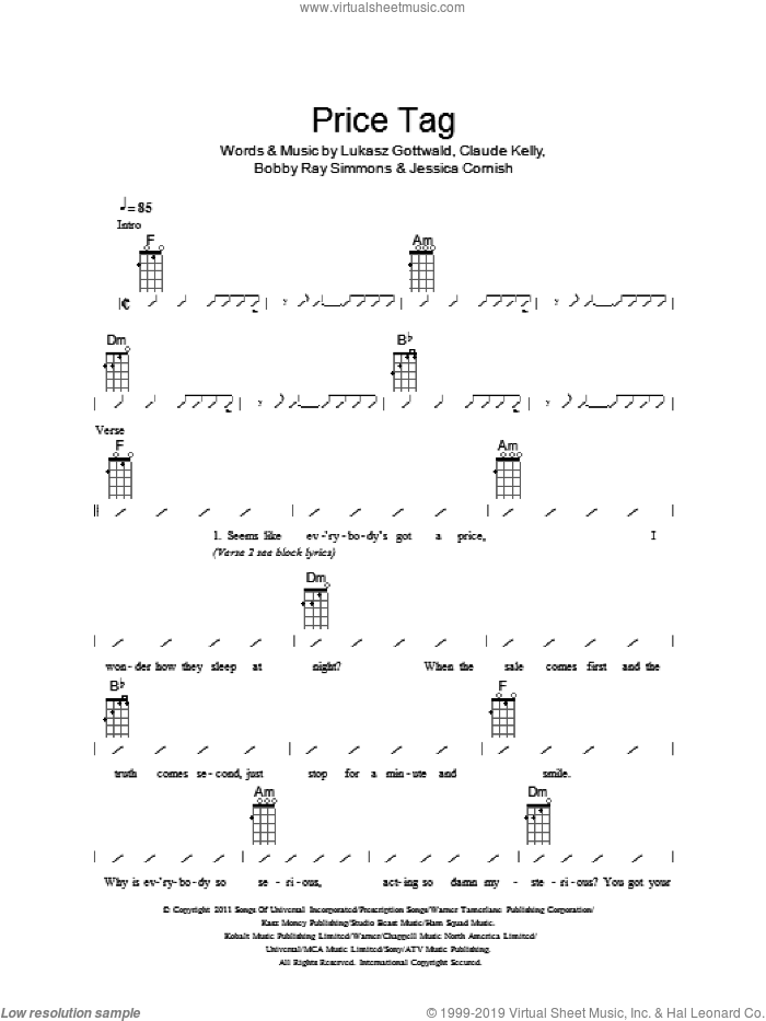 Price Tag sheet music for ukulele (chords) by The Ukuleles, Jessie J, Bobby Ray Simmons, Claude Kelly, Jessica Cornish and Lukasz Gottwald. Score Image Preview.