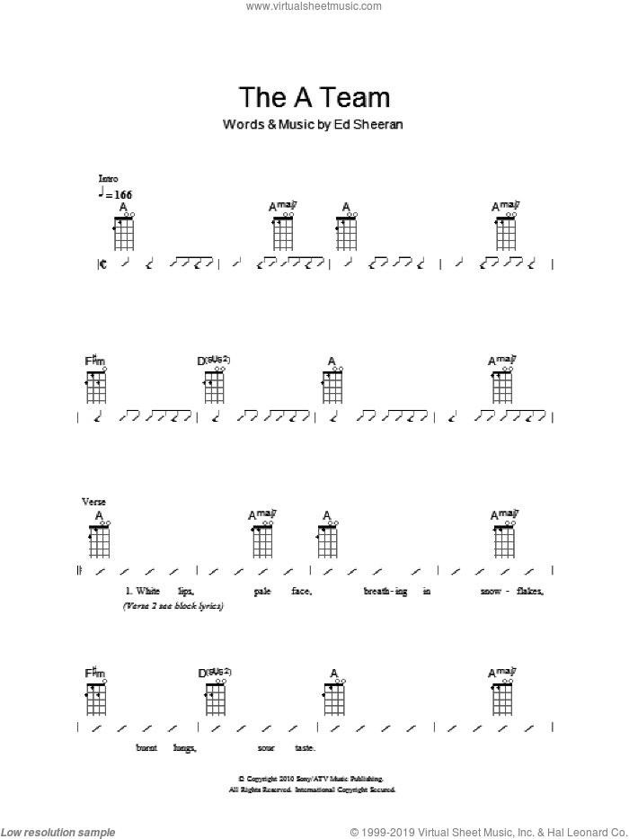 Ukuleles - The A Team sheet music for ukulele (chords) [PDF]