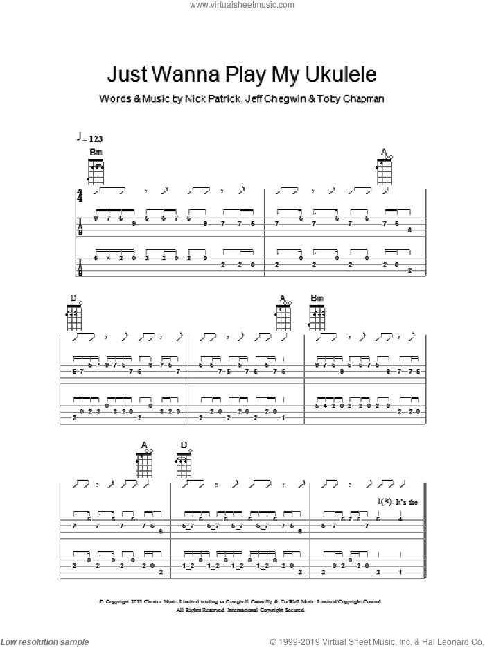 Just Wanna Play My Ukulele sheet music for ukulele (chords) by Toby Chapman and The Ukuleles. Score Image Preview.