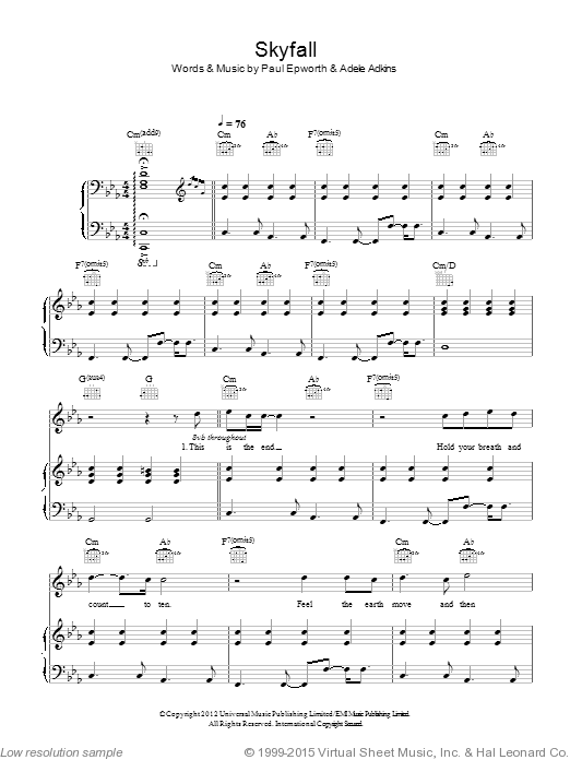 Skyfall sheet music for voice, piano or guitar by Adele Adkins