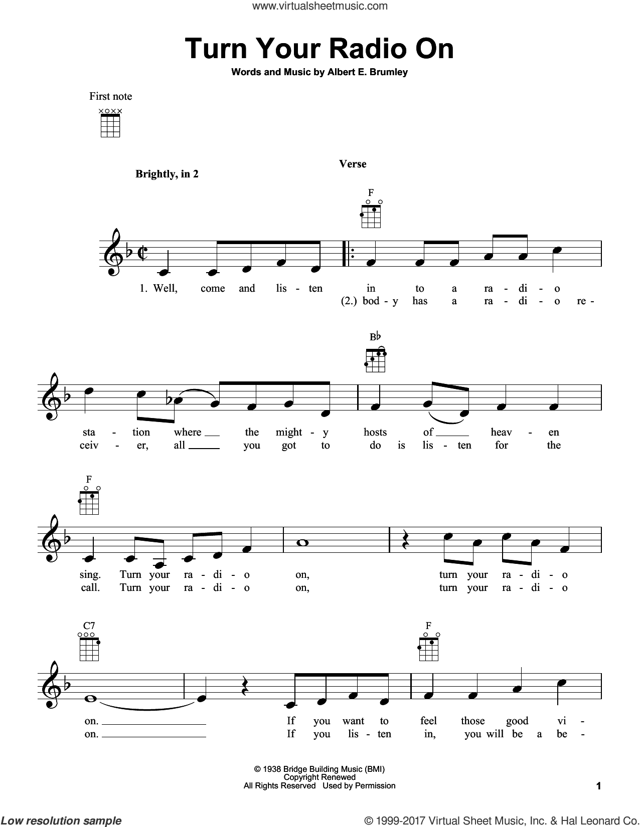 Turn Your Radio On sheet music for ukulele by Albert E. Brumley, intermediate skill level