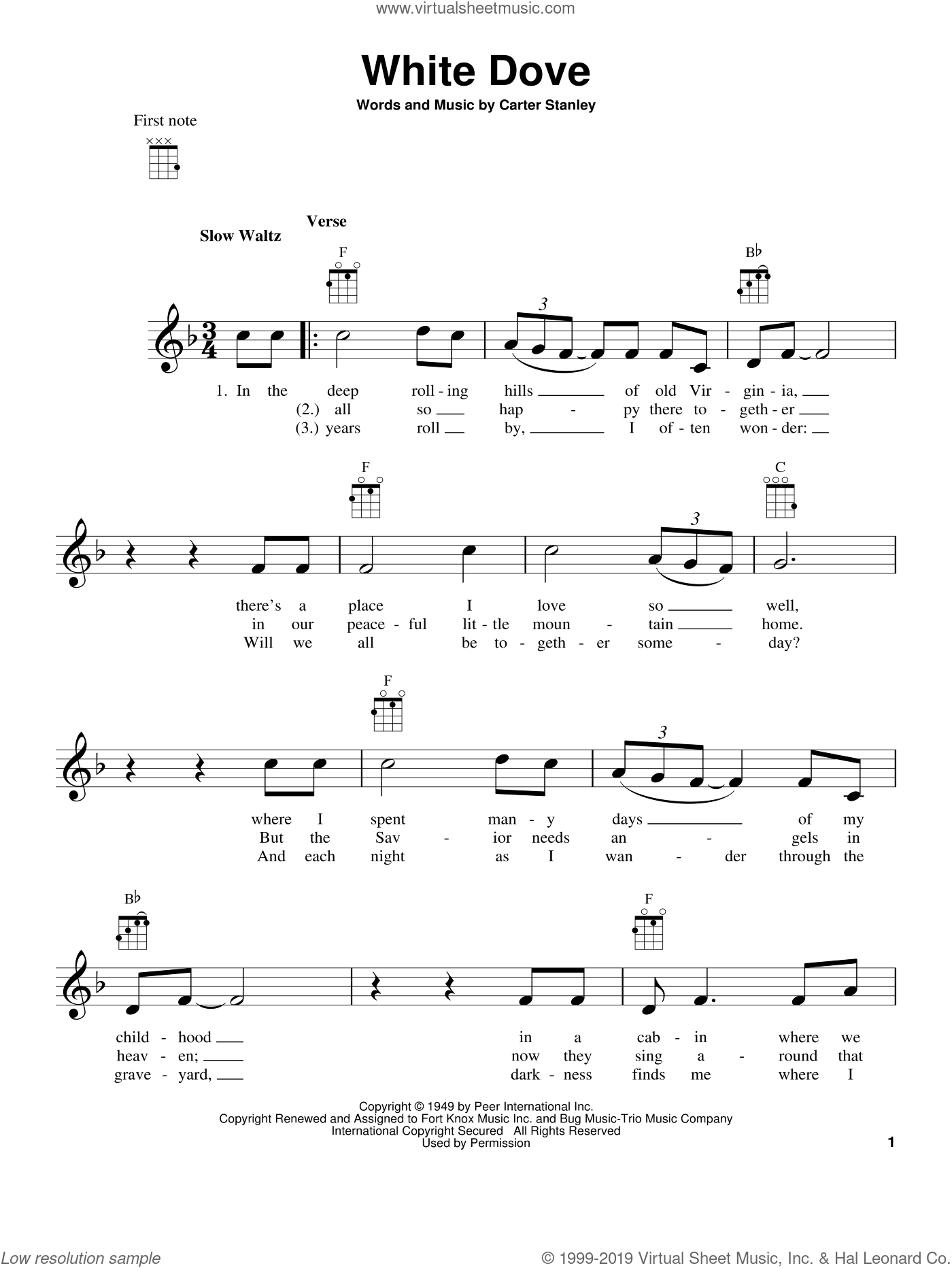 White Dove sheet music for ukulele by Carter Stanley, intermediate. Score Image Preview.