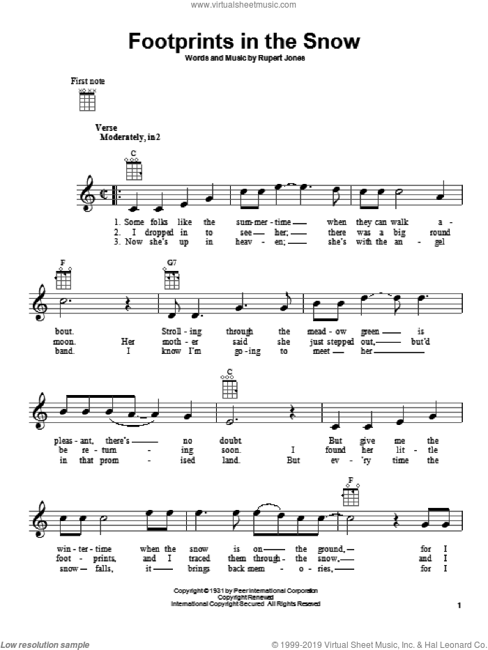 Footprints In The Snow sheet music for ukulele by Rupert Jones, intermediate ukulele. Score Image Preview.