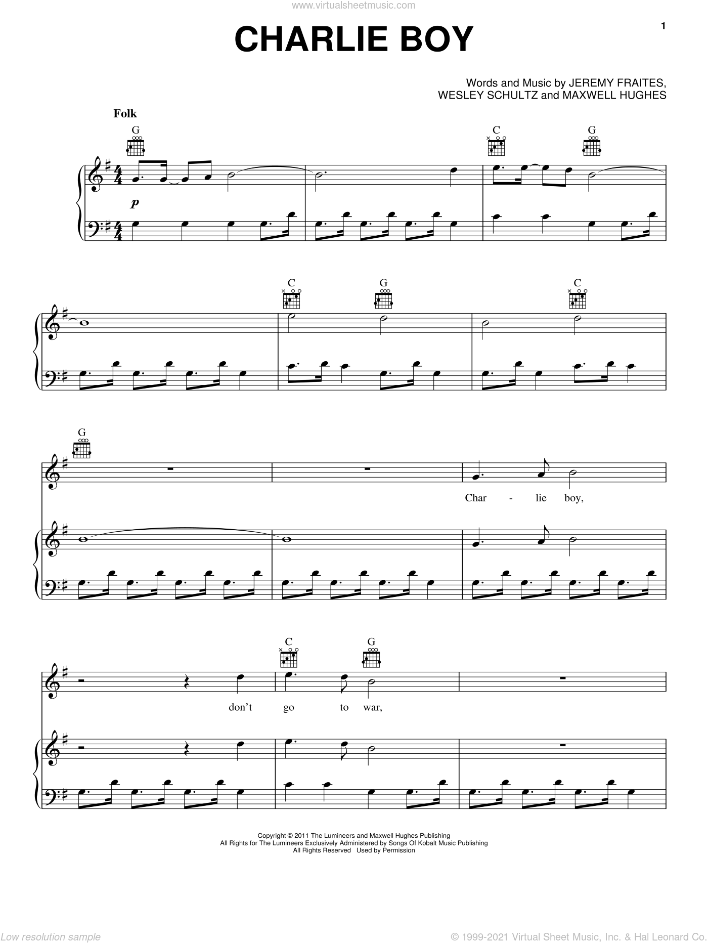 Charlie Boy sheet music for voice, piano or guitar by Wesley Schultz, Jeremy Fraites and The Lumineers. Score Image Preview.