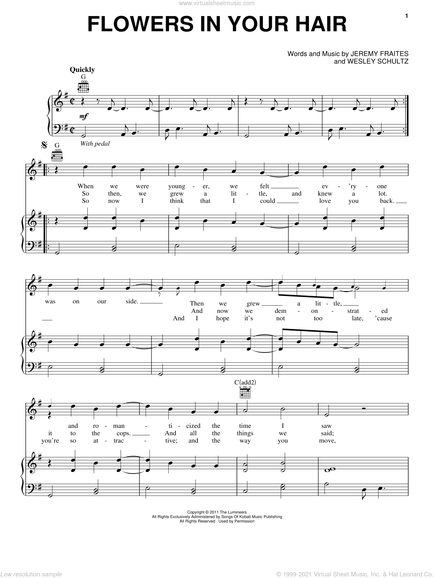 Flowers In Your Hair sheet music for voice, piano or guitar by The Lumineers, Jeremy Fraites and Wesley Schultz, intermediate. Score Image Preview.