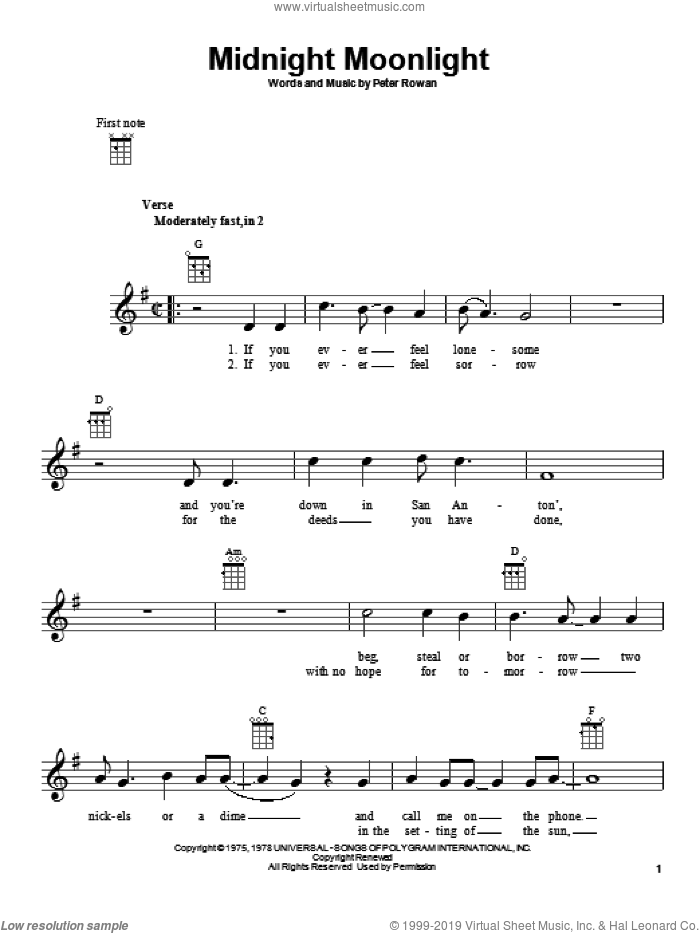Midnight Moonlight sheet music for ukulele by Peter Rowan. Score Image Preview.