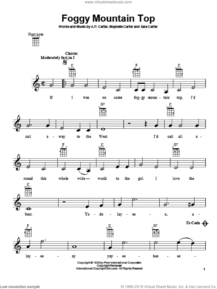 Foggy Mountain Top sheet music for ukulele by The Carter Family, A.P. Carter and Maybelle Carter, intermediate. Score Image Preview.