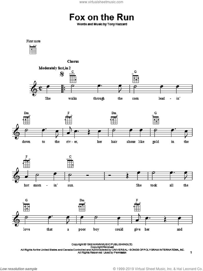 Fox On The Run sheet music for ukulele by Tony Hazzard, intermediate skill level