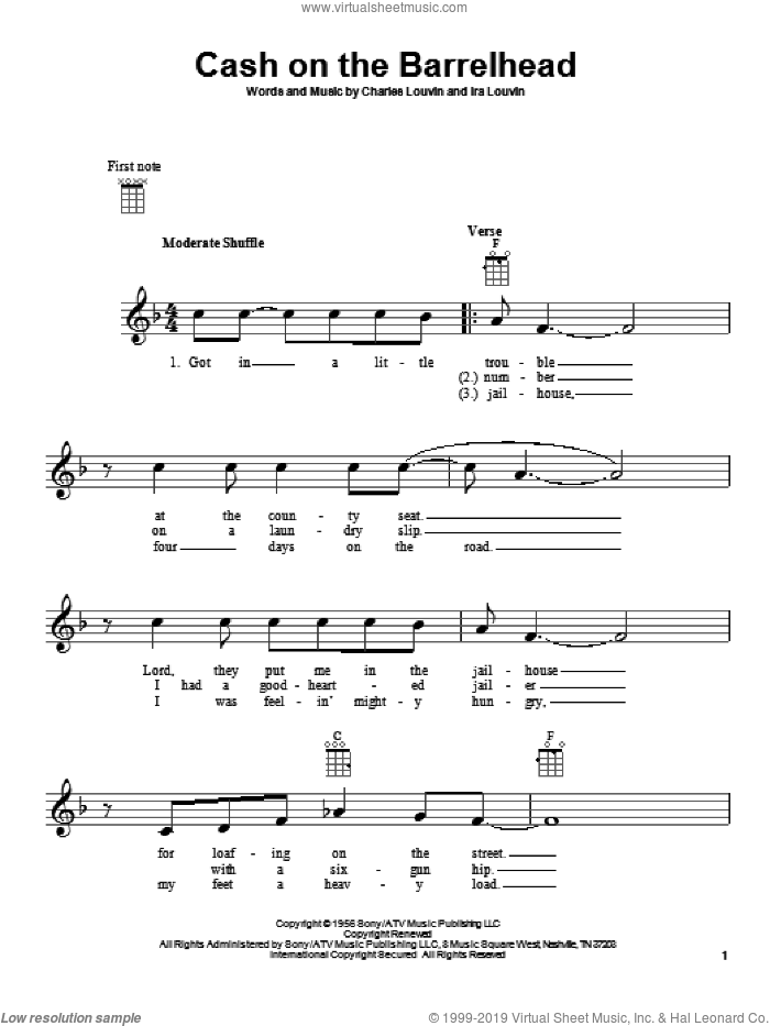 Cash On The Barrelhead sheet music for ukulele by Charles Louvin