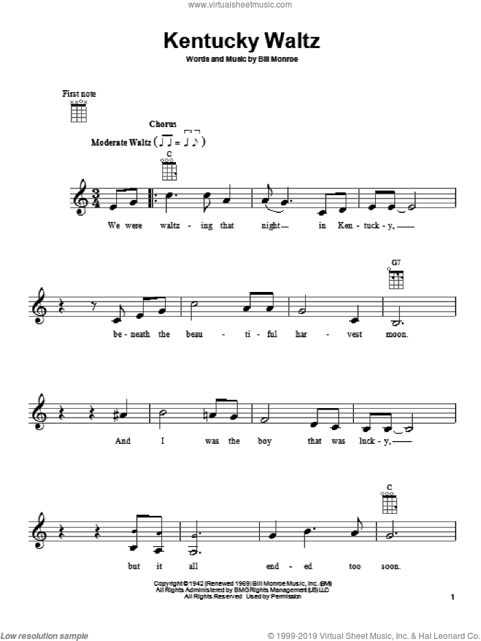 Kentucky Waltz sheet music for ukulele by Eddy Arnold and Bill Monroe, intermediate skill level