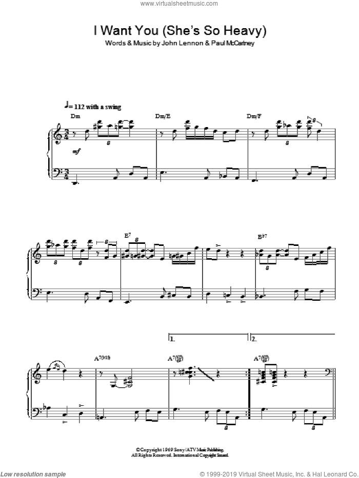 I Want You (She's So Heavy) (Jazz Version) sheet music for piano solo by The Beatles, John Lennon and Paul McCartney, intermediate skill level