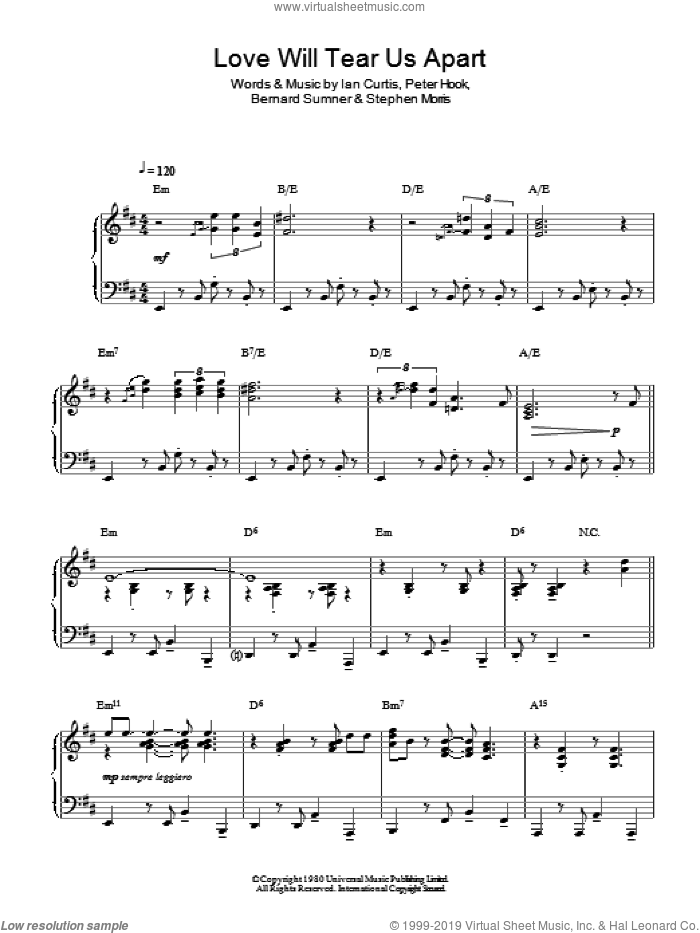 Love Will Tear Us Apart (Jazz Version) sheet music for piano solo by Stephen Morris, Bernard Sumner and Peter Hook. Score Image Preview.