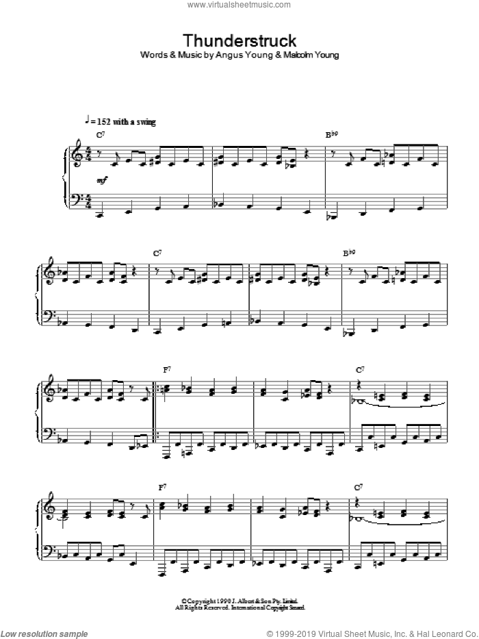 Thunderstruck (Jazz Version) sheet music for piano solo by AC/DC, Angus Young and Malcolm Young, intermediate skill level