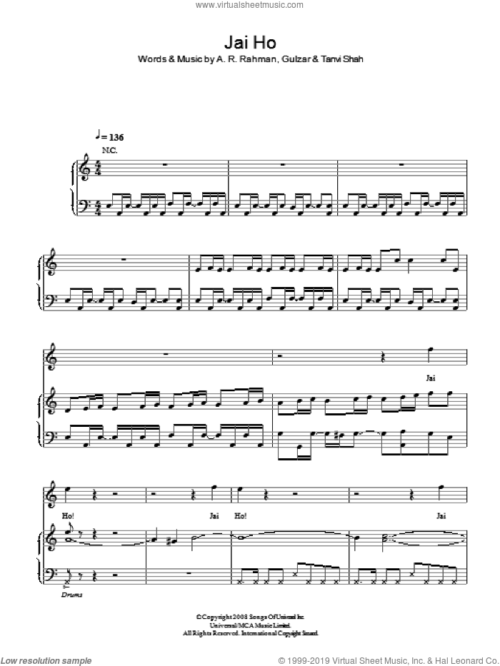 Jai Ho sheet music for voice, piano or guitar by Tanvi Shah and A.R. Rahman. Score Image Preview.