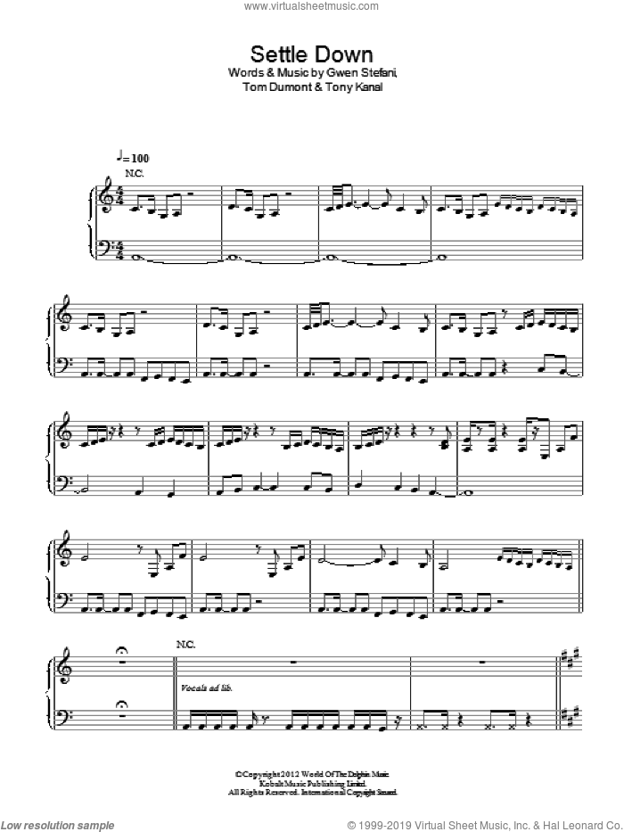Settle Down sheet music for voice, piano or guitar by Tony Kanal
