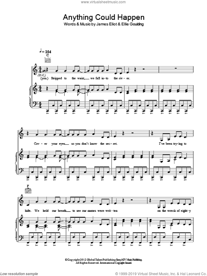 Anything Could Happen sheet music for voice, piano or guitar by Ellie Goulding and James Eliot, intermediate skill level