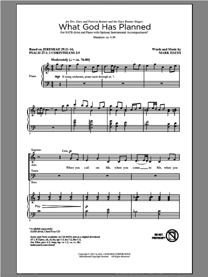 What God Has Planned sheet music for choir and piano (SATB) by Mark Hayes