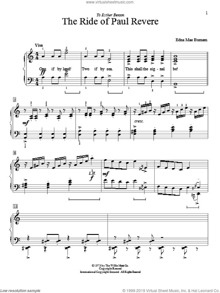The Ride Of Paul Revere sheet music for piano solo (elementary) by Edna Mae Burnam, beginner piano (elementary). Score Image Preview.