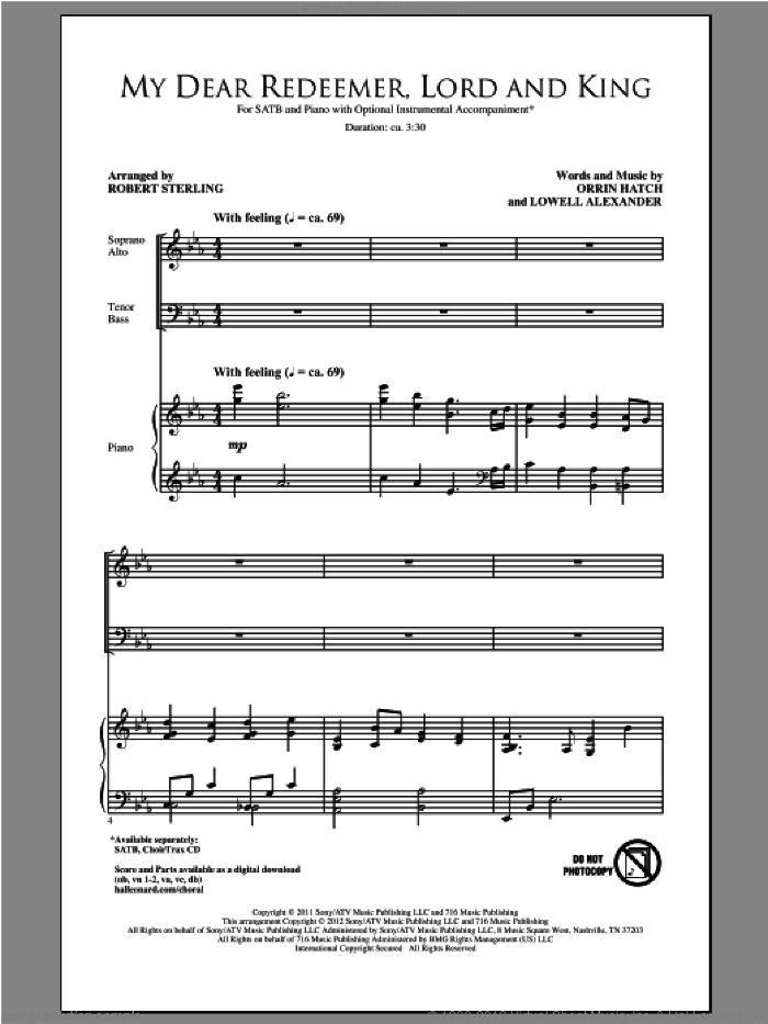 My Dear Redeemer, Lord And King sheet music for choir and piano (SATB) by Lowell Alexander and Robert Sterling. Score Image Preview.