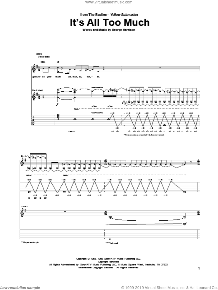 It's All Too Much sheet music for guitar (tablature) by The Beatles and George Harrison, intermediate