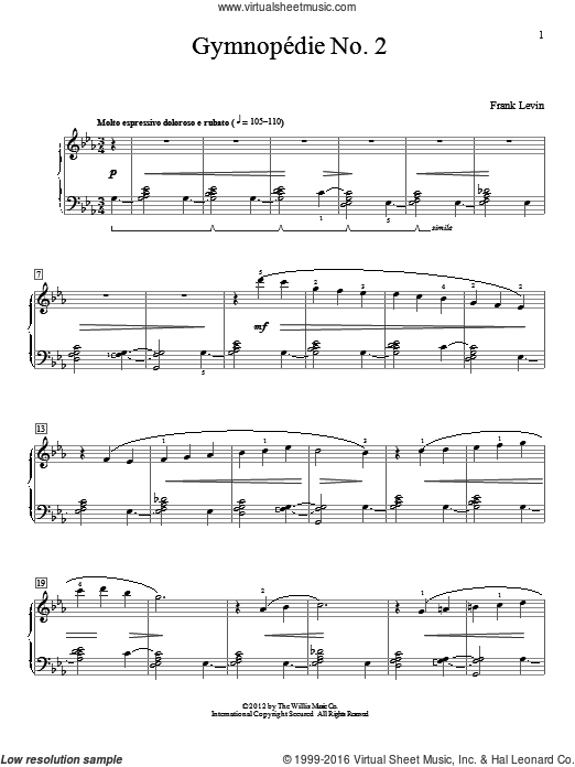 Gymnopedie No. 2 sheet music for piano solo (elementary) by Frank Levin, classical score, beginner piano (elementary). Score Image Preview.