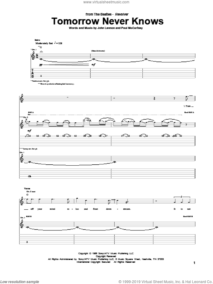 Tomorrow Never Knows sheet music for guitar (tablature) by Paul McCartney, John Lennon and The Beatles. Score Image Preview.