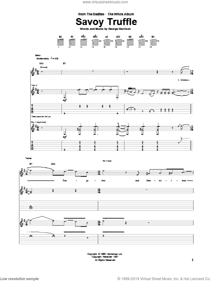Savoy Truffle sheet music for guitar (tablature) by The Beatles and George Harrison, intermediate guitar (tablature). Score Image Preview.