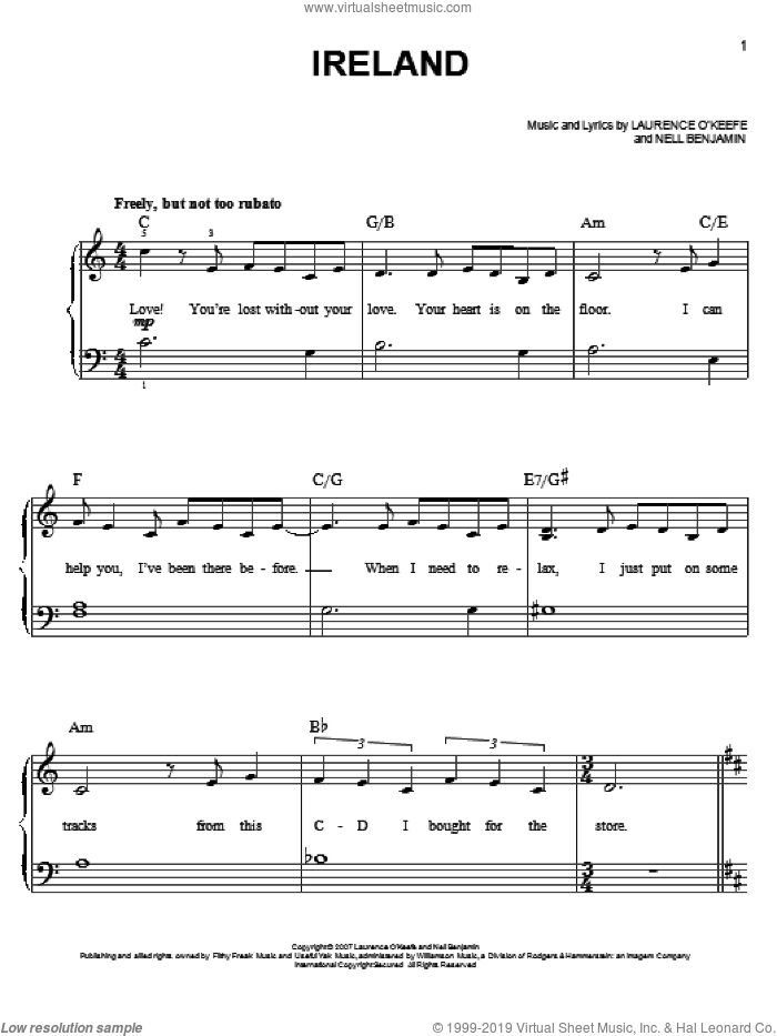 Ireland sheet music for piano solo by Nell Benjamin, easy. Score Image Preview.