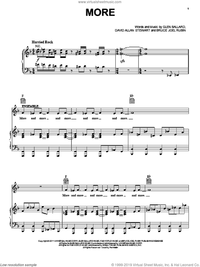 More sheet music for voice, piano or guitar by Glen Ballard
