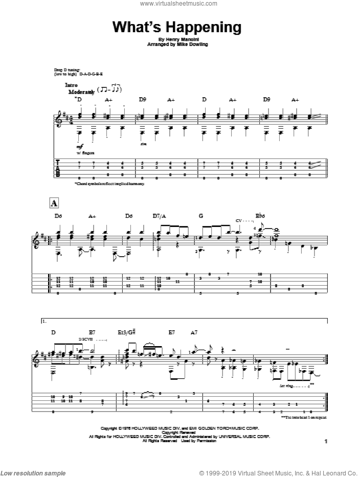 What's Happening sheet music for guitar solo by Henry Mancini. Score Image Preview.
