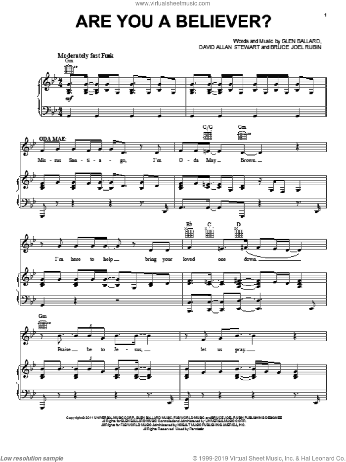 Are You A Believer? sheet music for voice, piano or guitar by Glen Ballard, Bruce Joel Rubin, Dave Stewart and Ghost (Musical), intermediate skill level
